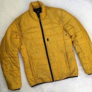H&M Men's Yellow Puffer Jacket Winter Coat